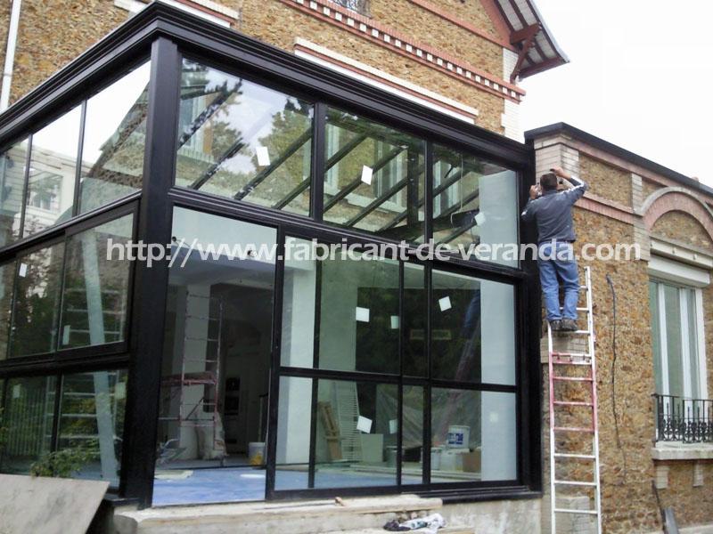veranda aluminium sur maison ancienne. Black Bedroom Furniture Sets. Home Design Ideas